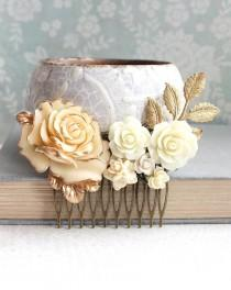 wedding photo - Gold Ivory Cream Bridal Hair Comb Vintage Style Romantic Country Chic Wedding Hair Accessory Bridesmaid Gift Floral Hair Piece Leaf Branch