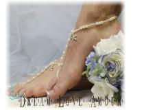 bfd6dc2c5a5 Silver starfish pearl bead barefoot sandals that are perfect for your fairy  tale destination beach wedding! Handmade and elegant pearl barefoot sandals
