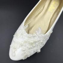 wedding photo - Vintage Lace Wedding Shoes,Bridal Ballet Shoes,Lace Flats Shoes,Women Wedding Shoes,Comfortable Bridal flats
