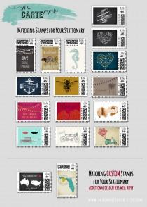 custom postal stamps matching our wedding invitations design fee