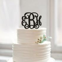 wedding photo - Custom initial name cake topper,monogram cake topper,unique ABCDEFG cake topper gift,rustic cake topper for wedding,acrylic monogram topper