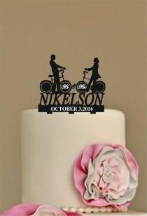 wedding photo - Personalized Wedding Cake Topper,  Rustic Wedding Cake topper, funny wedding cake topper, unique wedding Cake Topper, bicycle silhouette