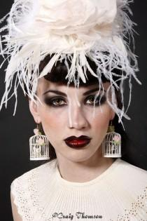 Chenille Dot Birdcage Veil Wedding Headpiece Fascinator Floral Tilt Hat Elegant