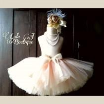 wedding photo - Ballet Pink & Gold Tutu - ALL CHILDREN SIZES Made To Order Girls Champagne Glitter Sparkle Bridal Bride Infant Toddler 2T 3 4 5 6 7 8 9 10
