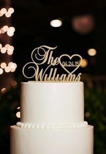 wedding photo - Wedding Cake Topper,Personalized Last Name Cake Topper,Custom Date Cake Topper,Rustic Wedding Cake Topper,Unique Last Name Cake Topper