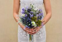 wedding photo - Valentino Wild Flower Bouquet - Berries, Succulents and Lavender