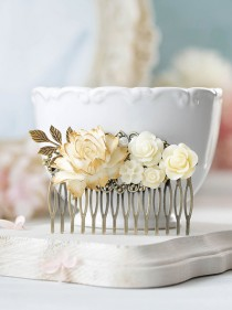 wedding photo - Vintage Style Bridal Hair Comb Cream White Ivory Flower Antique Gold Leaf Branch Hair Comb Rustic Vintage Wedding Country Chic Large Comb