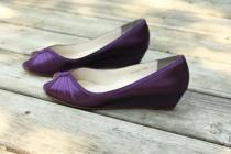 wedding photo - Purple Wedding Shoes Wedge Low heel -- 1 inch wedge shoes - Wide shoes available