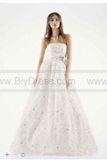 wedding photo - White by Vera Wang Organza Laser Cut Wedding Dress VW351219