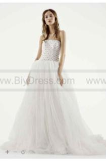 cc44df13c0db White by Vera Wang Tulle and Lattice Wedding Dress VW351236