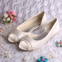 wedding photo - Custom handmade Peeptoe ivory or white satin dorsay flat ballerina ballet bridal wedding lace shoes
