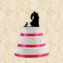 wedding photo - Bride and groom kiss wedding cake topper-silhouette wedding cake topper with dog-funny cake topper-rustic wedding toppers-modern cake topper
