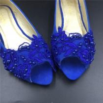 wedding photo - Blue Vintage Lace Wedding Shoes,RoyalblueBridal Ballet Shoes,Lace peep toe Flats Shoes,Women Wedding Shoes,Comfortable Bridal flats