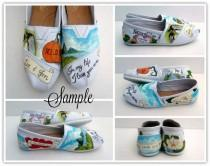 wedding photo - Bride's Wedding Story Painted TOMs Custom Wedding Shoes, bridal shoes, custom bride, customized wedding, painted TOMs