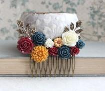 wedding photo - Autumn Bridal Hair Comb Fall Wedding Navy Blue Rose Golden Mustard Yellow Rustic Country Floral Collage Bridesmaid Gift Marsala Deep Red
