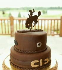 wedding photo - Grooms Cake Topper - Bucking Bronco Rodeo Rider Sign & Keepsake for the Rustic or Country Wedding.  Personalized with your name. Be Unique.