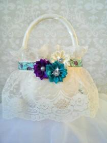 wedding photo - Peacock Ivory Lace Flower Girl Baskets, Peacock Wedding, Peacock Flower Girl Basket