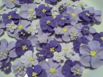wedding photo - Shades of purple royal icing flowers -- Ombre -- Cake decorations cupcake toppers edible (48 pieces)