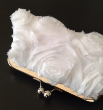 wedding photo - White Frayed Rosette Clutch