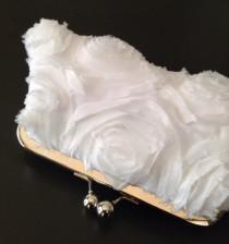 wedding photo - White Frayed Rosette Clutch
