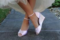 wedding photo - Wedding shoes wedge sandals peep toe high heels bridal shoes embellished with floral ivory Venice lace and large crystal brooch