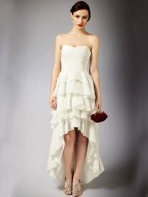 wedding photo - Maxi High Low Wedding Dress with Strapless Bodice and Modern Multi-layered Skirt