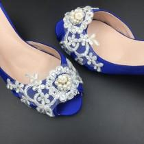 wedding photo - Something Blue Peep Toe Crystals Wedding Shoes,Bridal Ballet Shoes,Girls Open Toe Heels,Women Wedding Shoes,Comfortable Bridal Pumps