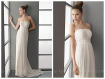 wedding photo - Modern Summer Simple Empire Waist Column Wedding Dress