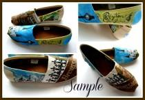 wedding photo - Bride's Wedding Story Painted Authentic TOMS BOBS VANS, Keds Painted Bridal Shoes, Custom Painted shoes Wedding Shoes Bridal Party accessory