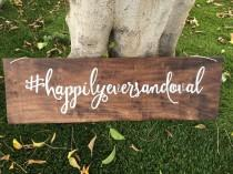 wedding photo - Wedding hashtag wood sign // wedding decor // hashtag sign // rustic decor