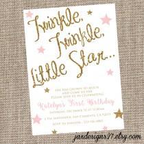 wedding photo - Sparkle Birthday Invitation, Twinkle Twinkle Little Star, Pink Birthday Invitation, Glitter Birthday Invitation, Blush and Gold Birthday
