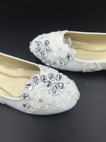 wedding photo - Wedding flats Ivory White Wedding Flats,Bridal Ballet Shoes,Comfortable Flats,Low Heels Flats,Womens Wedding Shoes