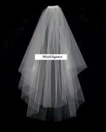 """wedding photo - 2 tier Veil Waist Length 25""""30"""". Bridal Veil Wedding Veil Hennight Veil Communion Veil."""
