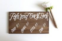 wedding photo - Polaroid Guest Book Wedding Sign, Rustic Wooden Wedding Signs, Alternative Guest Books, The Paper Walrus