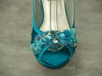 wedding photo - Teal Bridal Wedding Shoes, Medium Comfortable Satin Heels - hand embellished  organza flowers & beads, Slingback, Open Peep Toe, Accessory