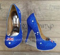 wedding photo - Australia flag custom glitter shoes (Heel or wedge)-Wedding shoes, prom shoes, custom glitter shoes made to order