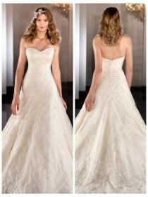 wedding photo - Sweetheart Lace Appliques Cross Net A-line Wedding Dress