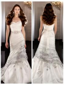 wedding photo - Silk Organza Fit Flare Sweetheart Asymmetrical Ruched Wedding Dress