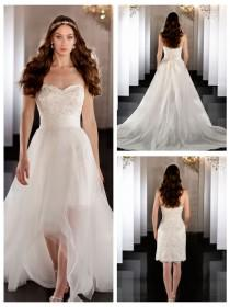 wedding photo - Sweetheart Beading Coctail Length Bridal Gown with Detachable Tulle Skirt