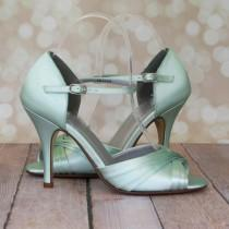 wedding photo - Wedding Shoes --Mint Green Peep Toe Mary Jane Wedding Shoes  -- CHOOSE YOUR COLOR