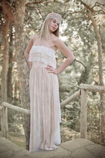 wedding photo - Boho Wedding Dress, Cream Wedding Dress, Lace Wedding Dress, Vintage Wedding, Bohemian Gown, Gipsy Wedding Dress, Handmade, SuzannaMDesigns