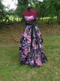 wedding photo - Muddy Girl Camo Dress / Gown with Pick Up Skirt / Design Options available
