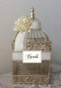 wedding photo - Hydrangeas Large Champagne Bird Cage-Wedding card holder