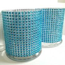 wedding photo - Cylinder Vase Cocktail Hour / Bar Vases Lot Turquoise Teal Bling Rhinestone Diamond Crystal Elegant Wedding Party Vases 4 Pc Lot