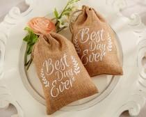wedding photo - 12 Burlap Favor Bags Best Day Ever Burlap Drawstring Favor Bags Wedding Favor Bags