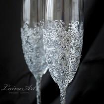 wedding photo - Wedding Champagne Flutes Wedding Champagne Glasses Wedding Toasting Flutes Silver Wedding Gatsby Wedding