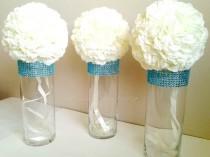 wedding photo - Centerpiece Cylinder Vase Lot Turquoise Teal Bling Rhinestone Diamond Crystal Elegant Wedding Party Vases 5 Pc Lot