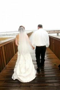 wedding photo - Wedding Drop Veil Cut Edge Waist Length, Bridal Veil 30X36CE