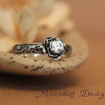 wedding photo - Moissanite Rose Engagement Ring with Pattern Band - Sterling Silver Floral Commitment Ring - Floral Promise Ring - Tendril and Vine