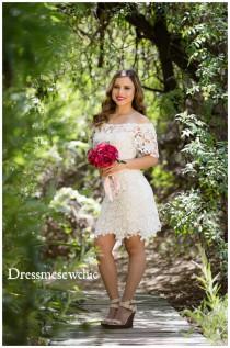 wedding photo - InStock Size SMALL: OFF Shoulder, Mini Wedding Dress, Country Rustic Wedding, Cotton Crochet Lace Dress, Bohemian Wedding, Dressmesewchic